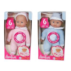 Amia Puppe mit Mütze sprechend 28 cm 2-fach ass.