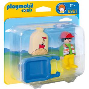 Playmobil  1.2.3 Bauarbeiter mit Schubkarre