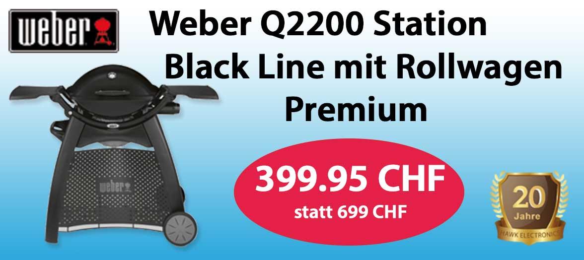 Weber Q2200 Station Black Line mit Rollwagen